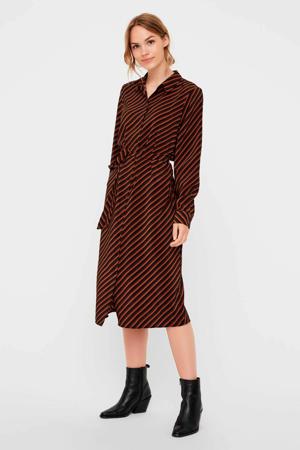 gestreepte blousejurk bruin