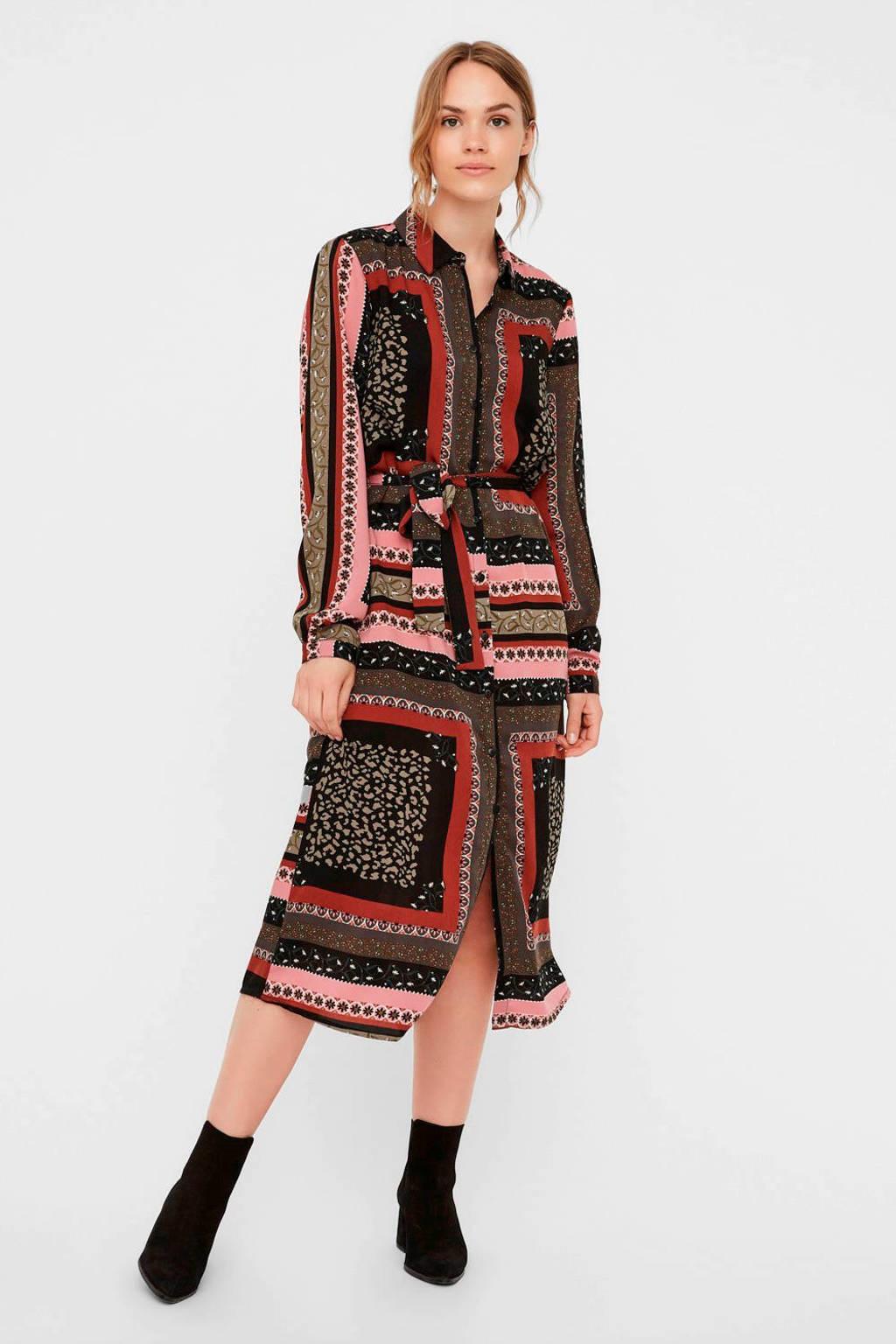 VERO MODA blousejurk met all over print en ceintuur bruin/roze, Bruin/roze