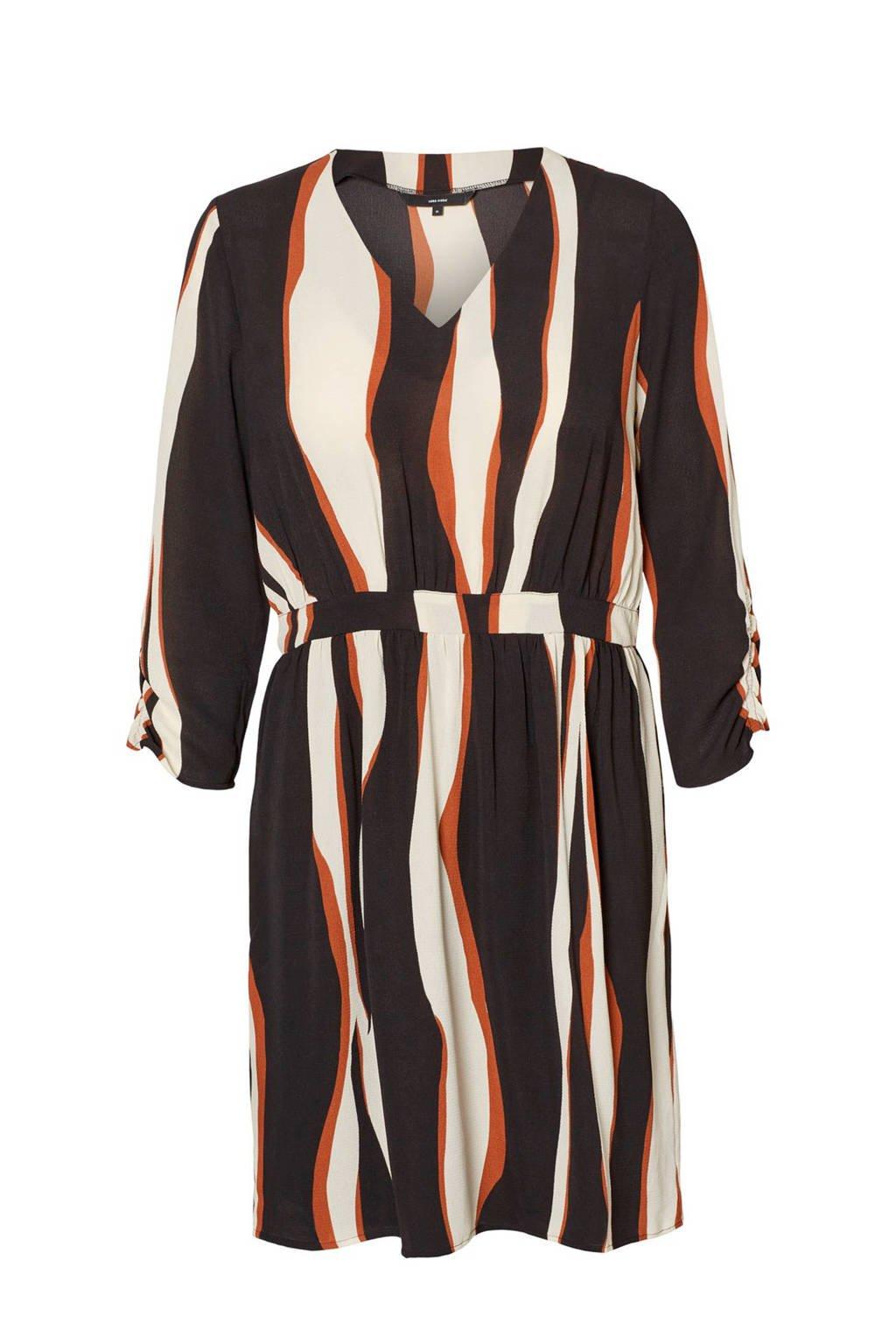 VERO MODA jurk met plooien zwart/crème/oranje, Zwart/crème/oranje