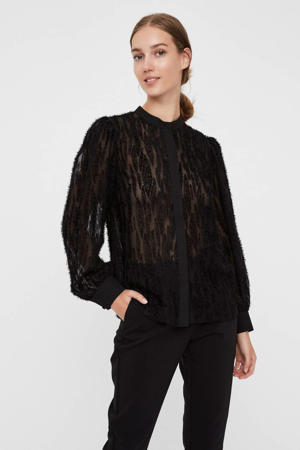 AWARE by semi-transparante blouse met all over print zwart