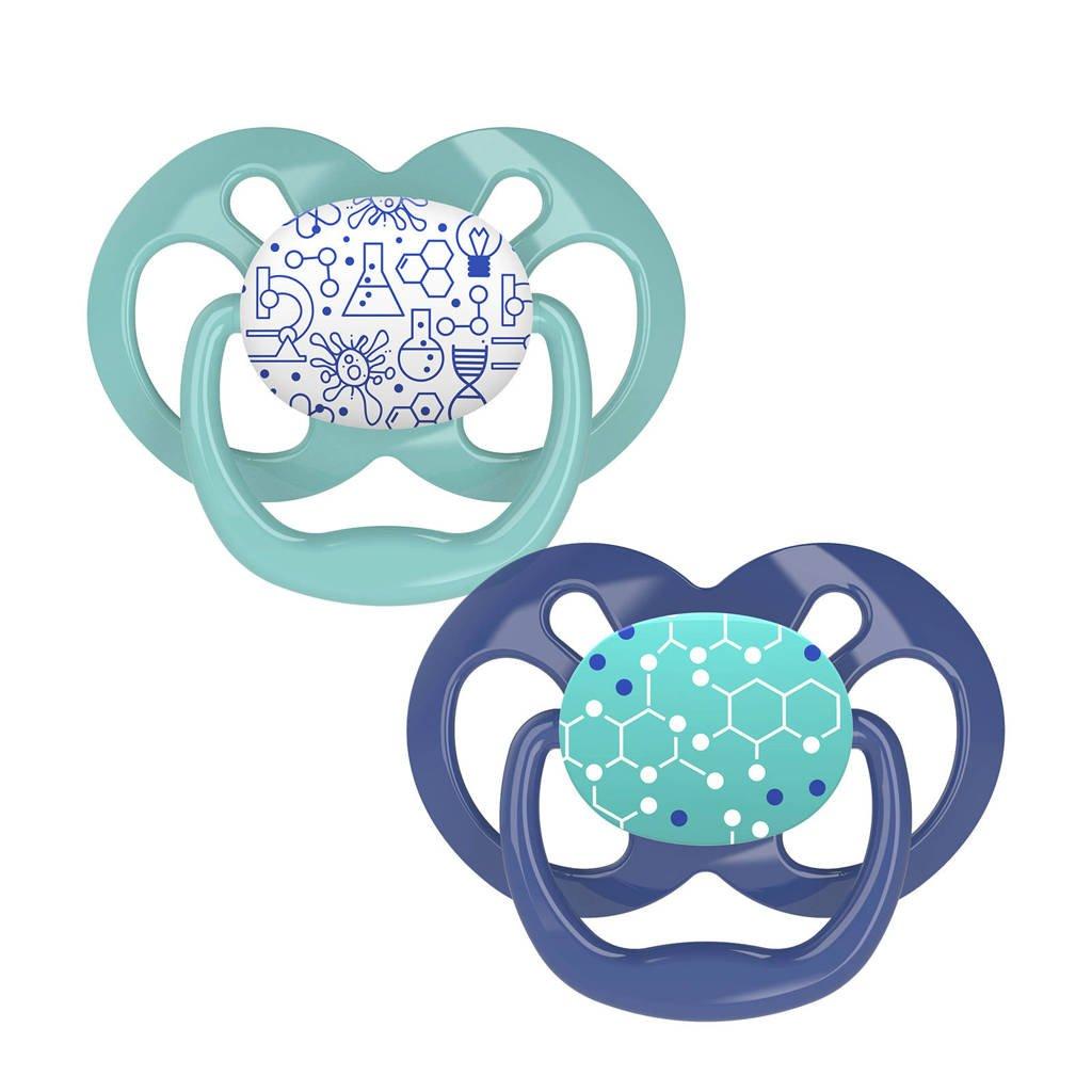 Dr. Brown's symmetrische fopspeen 6-18 mnd (set van 2), Blauw