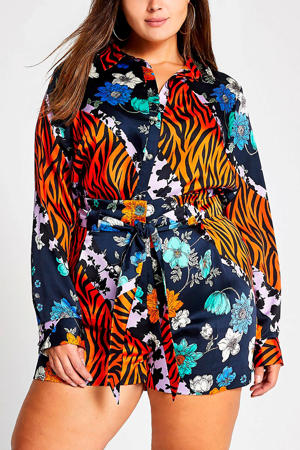 Plus blouse met all over print donkerblauw