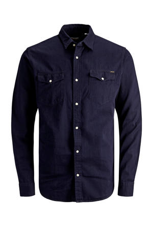 slim fit denim overhemd dark denim