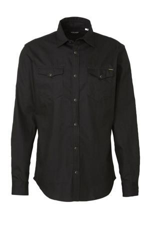slim fit denim overhemd zwart