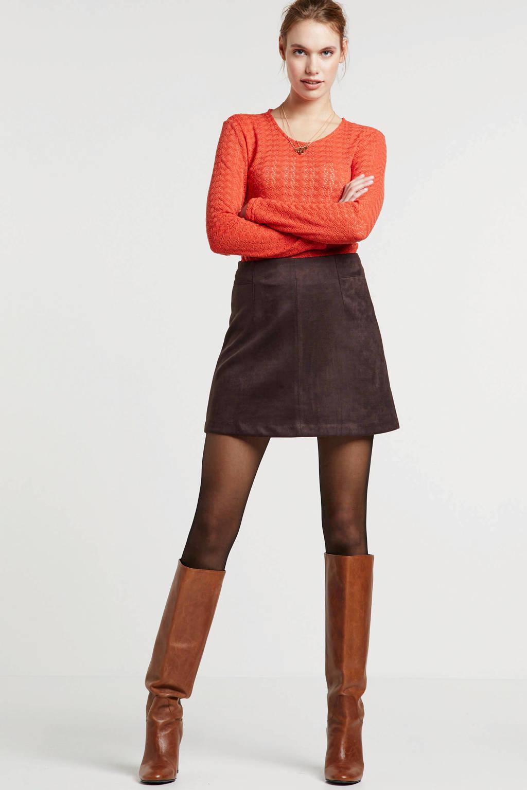 JACQUELINE DE YONG top met textuur oranje, Oranje