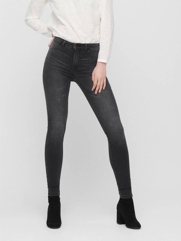 JACQUELINE DE YONG high waist skinny jeans JDYNIKKI grey denim, Grijs
