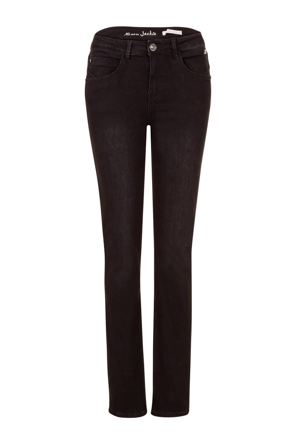 Miss Etam Regulier straight fit jeans Jackie 30 inch zwart, Zwart