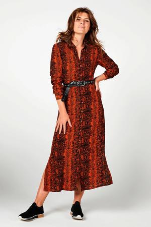 Regulier jurk met slangenprint oranje/zwart