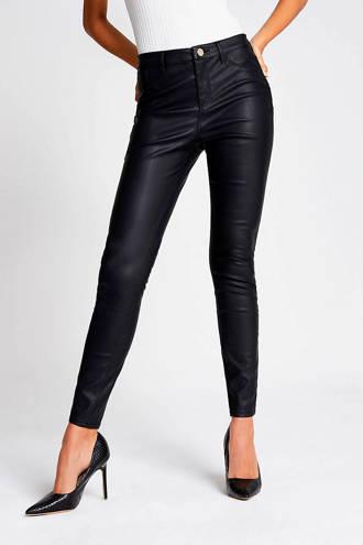 imitatieleren skinny broek zwart