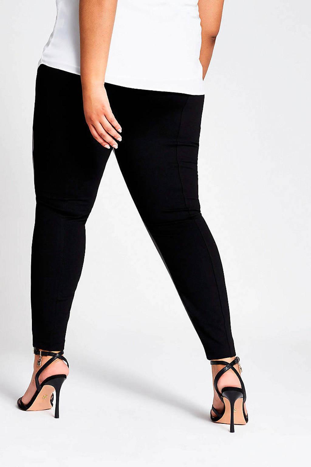 River Island Plus coated skinny broek zwart, Zwart