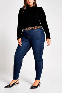 River Island Plus Molly mid rise skinny jeans donkerblauw, Donkerblauw