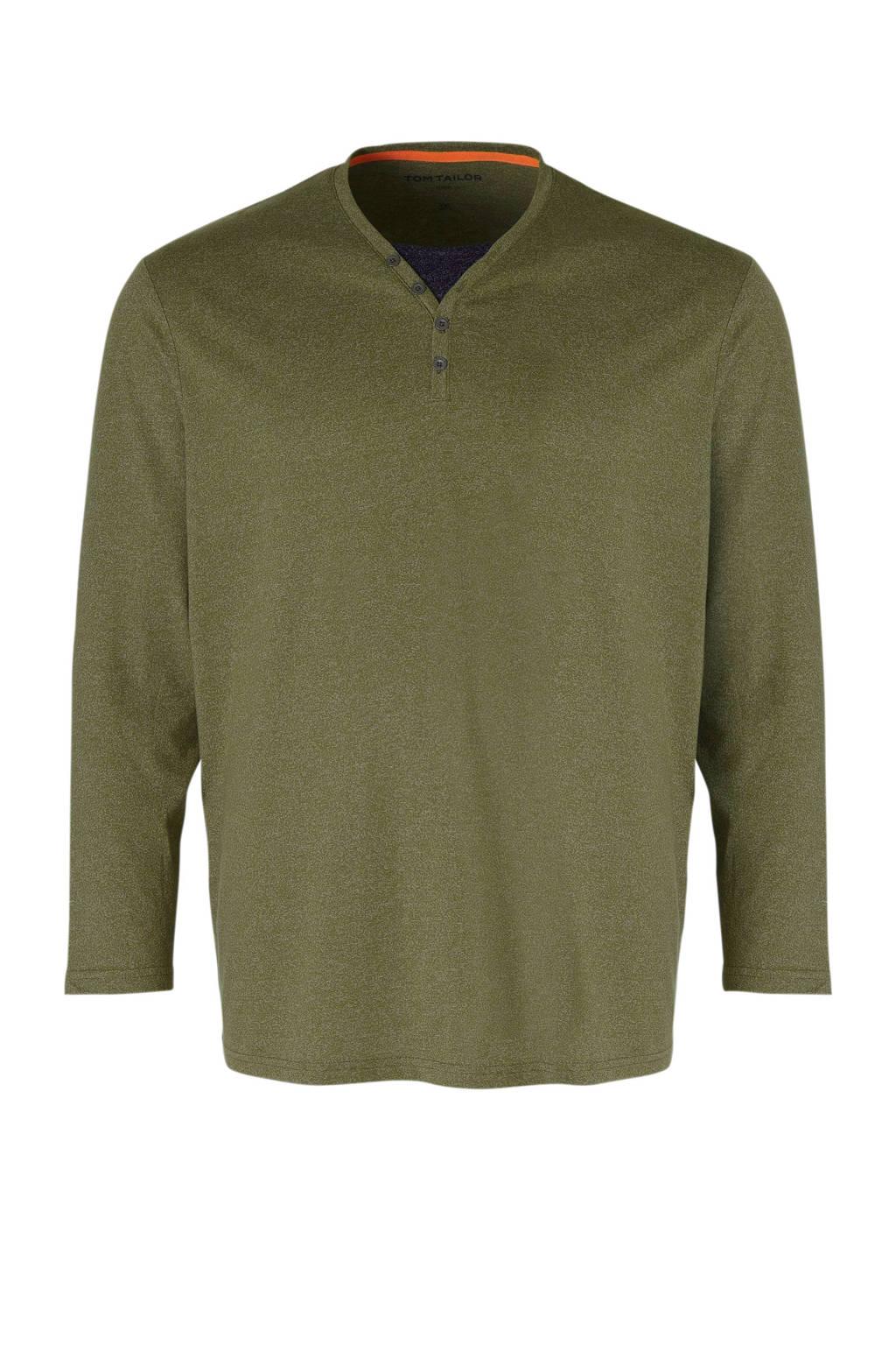 Tom Tailor Big & Tall gemêleerd T-shirt groen/grijs, Groen/grijs