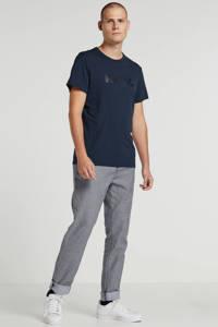 Tom Tailor gemêleerde slim fit chino blauw/wit, Blauw/wit