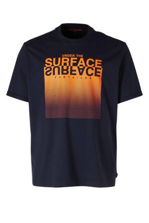 T-shirt met printopdruk marine/oranje