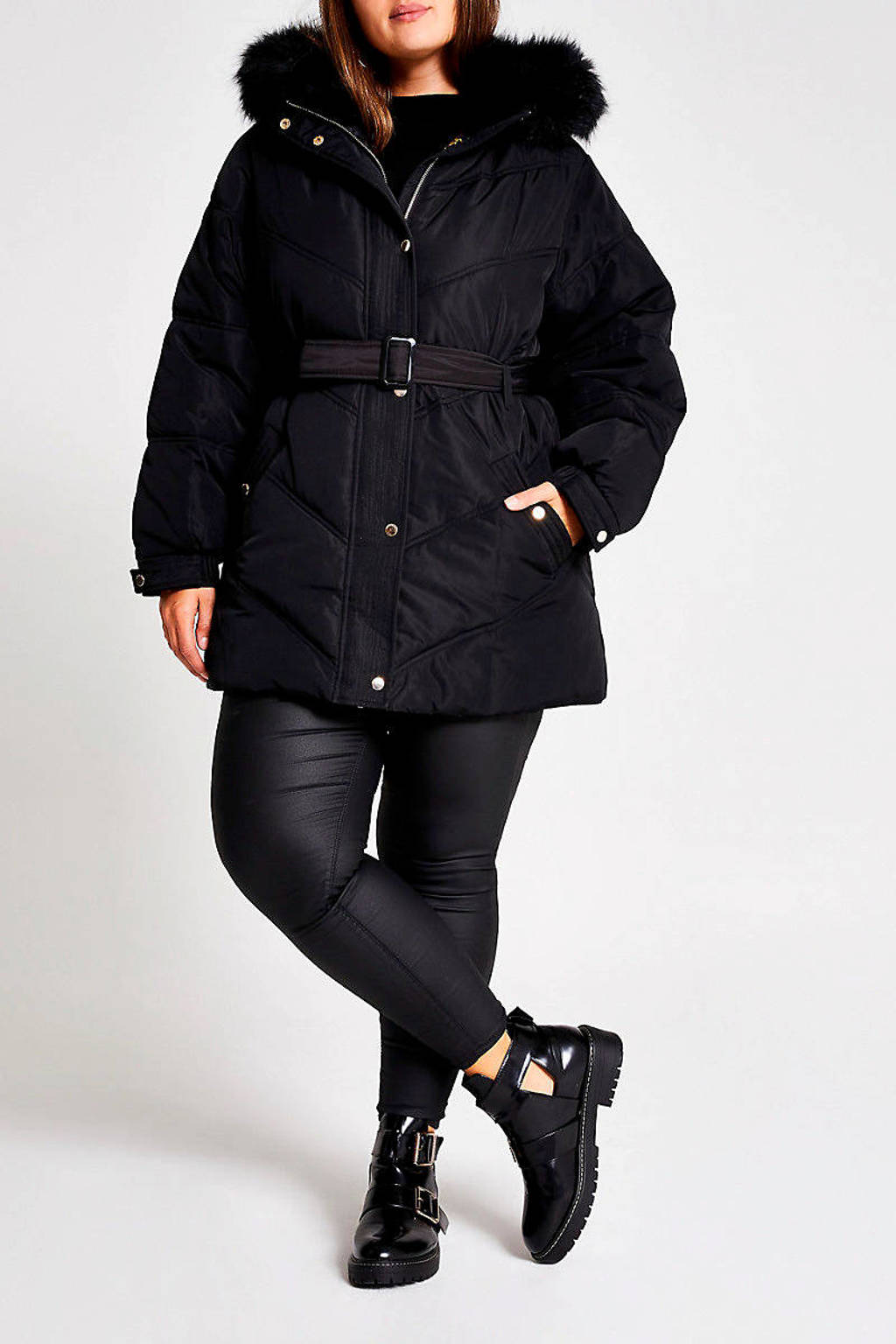 River Island Plus gewatteerde winterjas met ceintuur zwart, Zwart