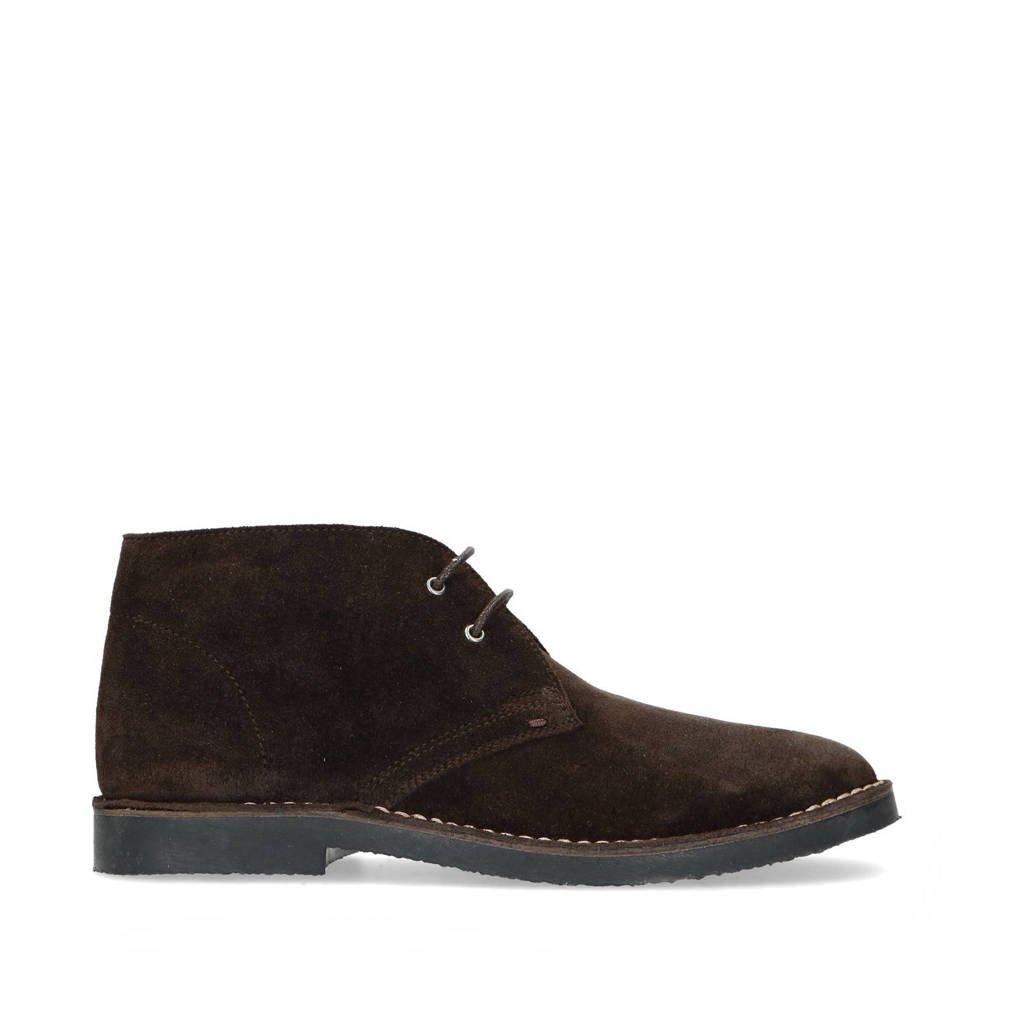 Manfield   suède desert boots donkerbruin, Bruin
