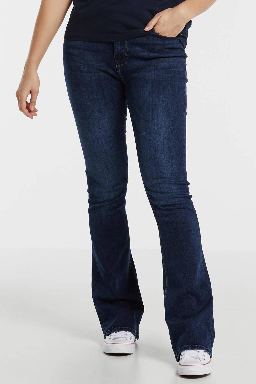 ONLY high waist flared jeans ONLPAOLA dark blue denim, Donkerblauw