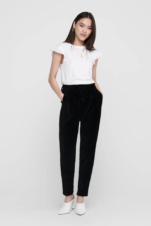 ONLY corduroy tapered fit broek zwart, Zwart