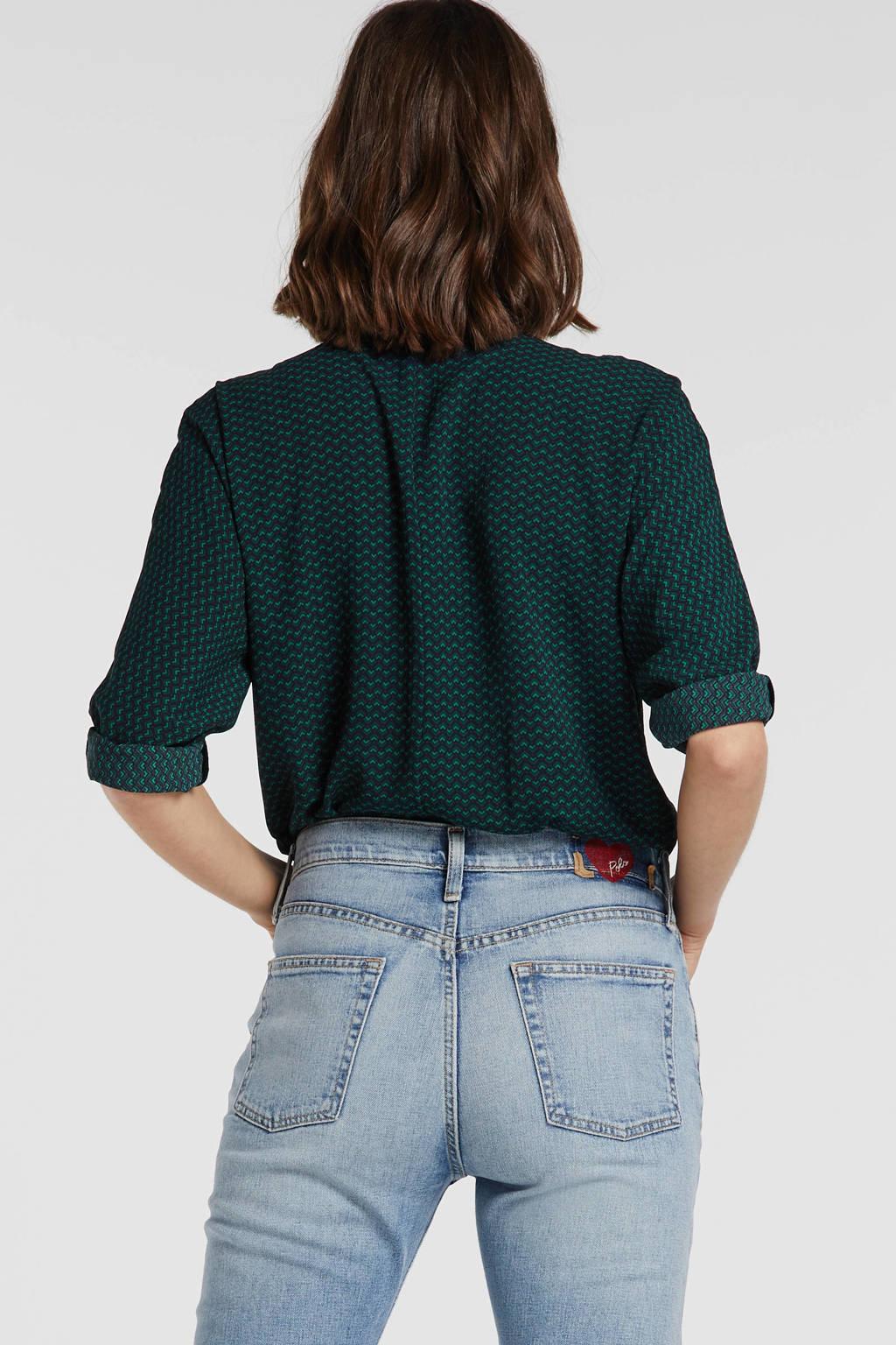 ONLY blouse met all over print zwart/mintgroen, Zwart/mintgroen