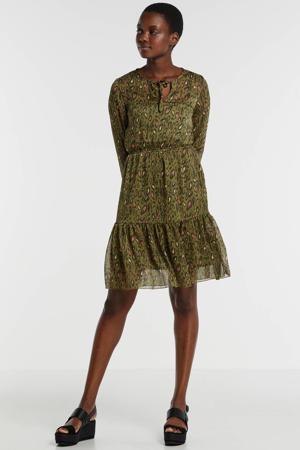semi-transparante jurk met panterprint en volant kaki/geel/bruin