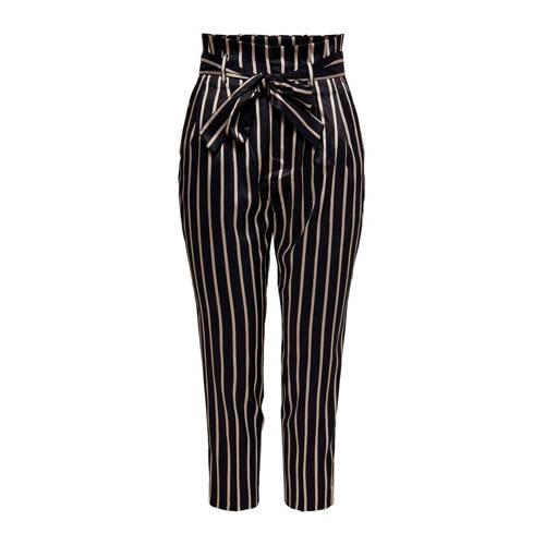 ONLY gestreepte high waist regular fit pantalon zwart/goud
