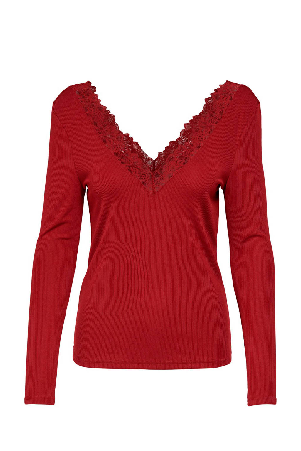 ONLY top met kant rood, Rood
