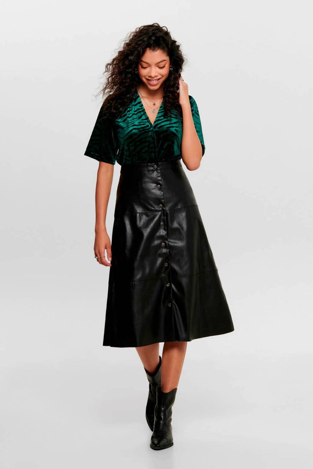 ONLY imitatieleren A-lijn rok zwart, Zwart