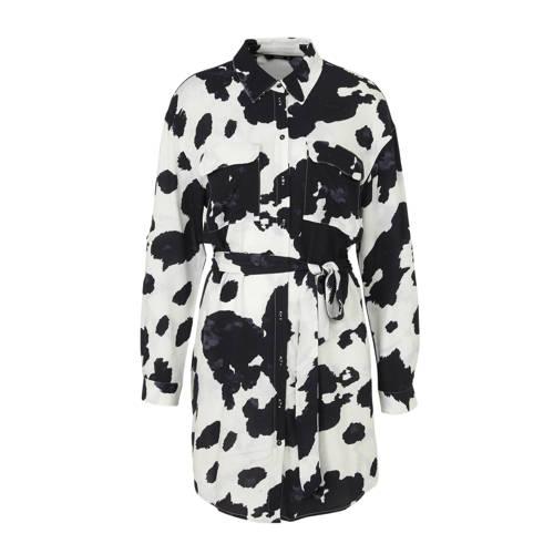 ONLY blousejurk met all over print en ceintuur wit