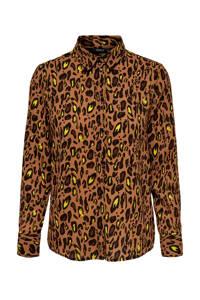 ONLY blouse met panterprint bruin/zwart/geel, Bruin/zwart/geel
