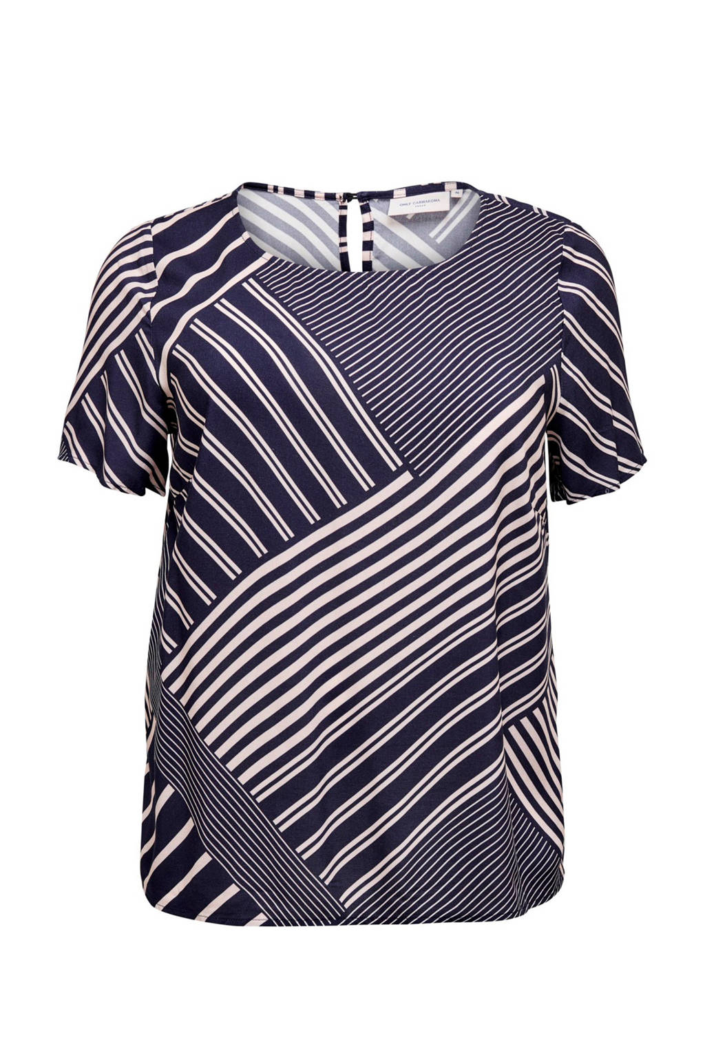 ONLY CARMAKOMA top met all over print blauw/wit, Blauw/wit