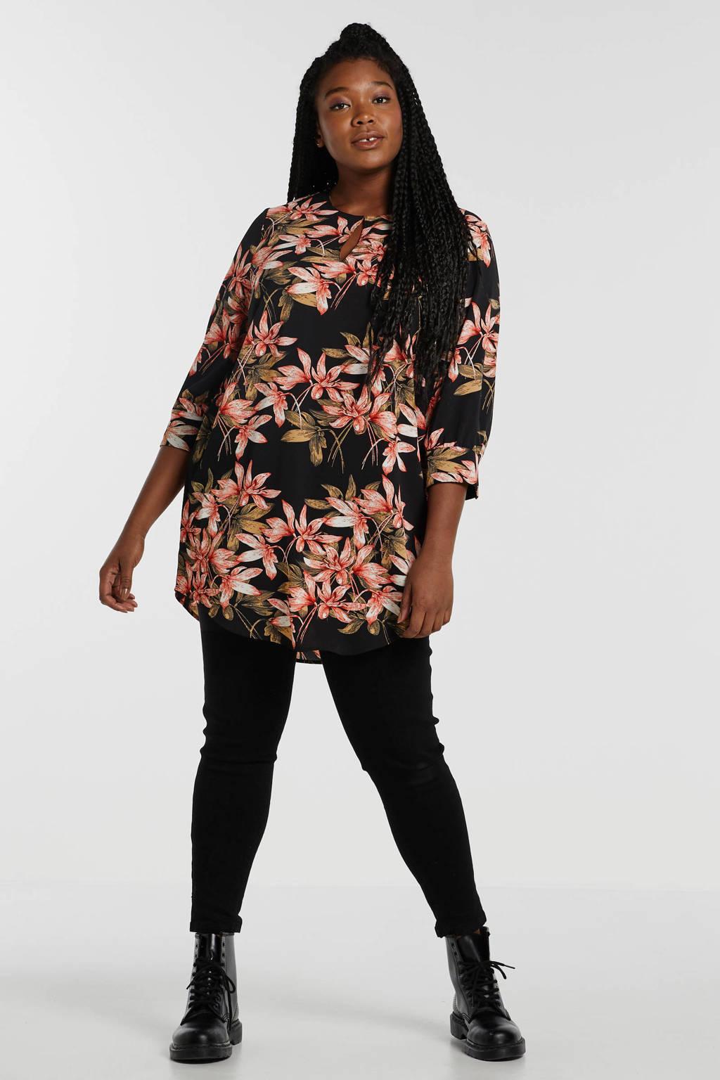 ONLY CARMAKOMA blouse met all over print zwart, Zwart