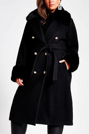 Plus coat met ceintuur zwart