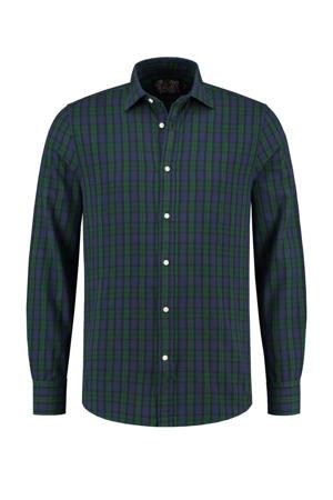 geruit slim fit overhemd groen/blauw