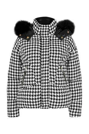 gewatteerde jas met pied-de-poule wit/zwart