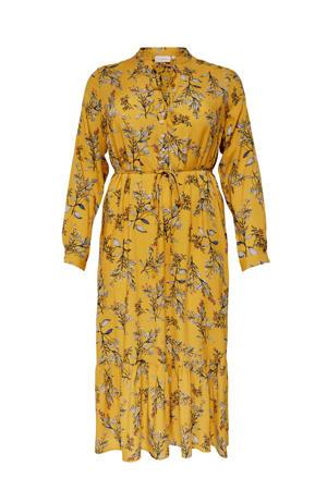 gebloemde jurk oker