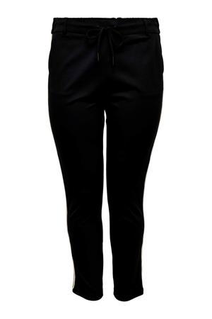 slim fit joggingbroek met zijstreep zwart/wit