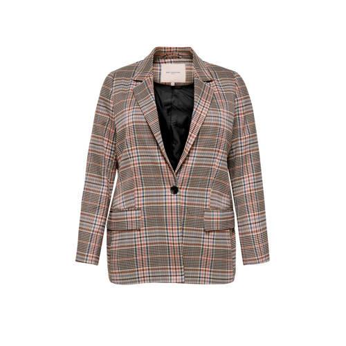 ONLY CARMAKOMA geruite blazer beige/roze/blauw