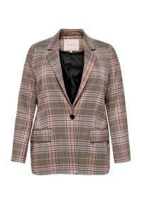 ONLY CARMAKOMA geruite blazer beige/roze/blauw, Beige/roze/blauw