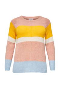 ONLY CARMAKOMA gestreepte trui roze/geel/ecru/lichtblauw, Roze/geel/ecru/lichtblauw