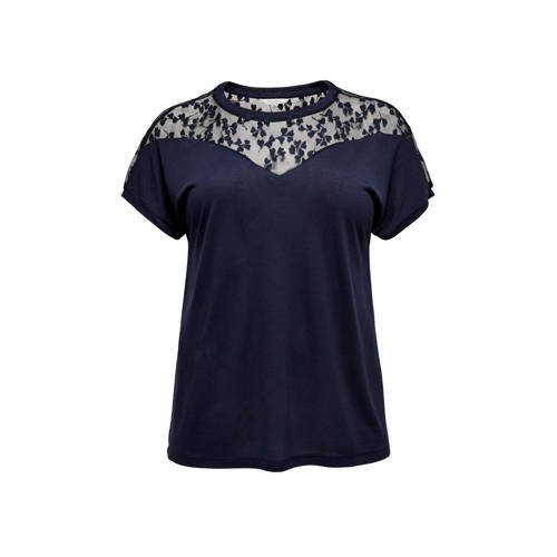 ONLY CARMAKOMA top met mesh donkerblauw