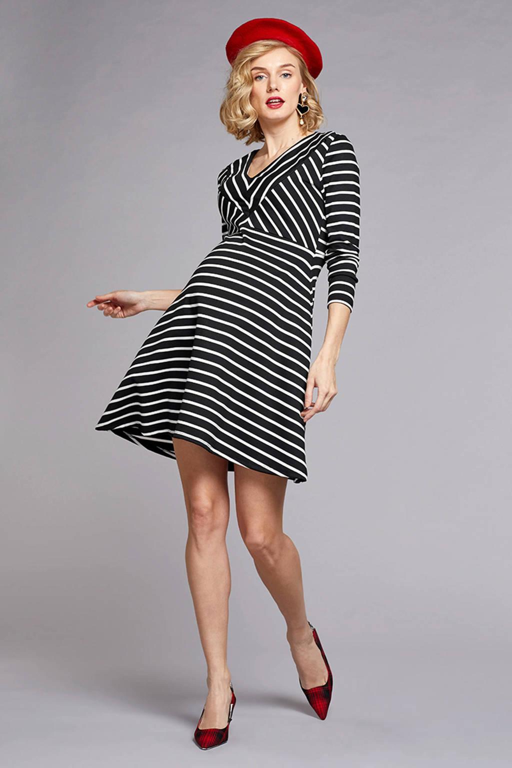 GeBe Maternity zwangerschapsjurk Beyonce zwart/wit, Zwart/wit