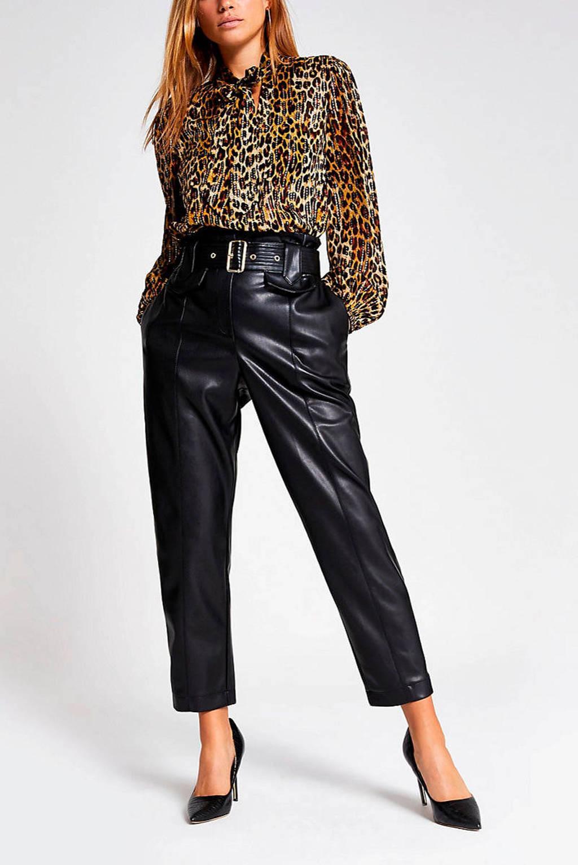 River Island imitatieleren high waist straight fit broek zwart, Zwart