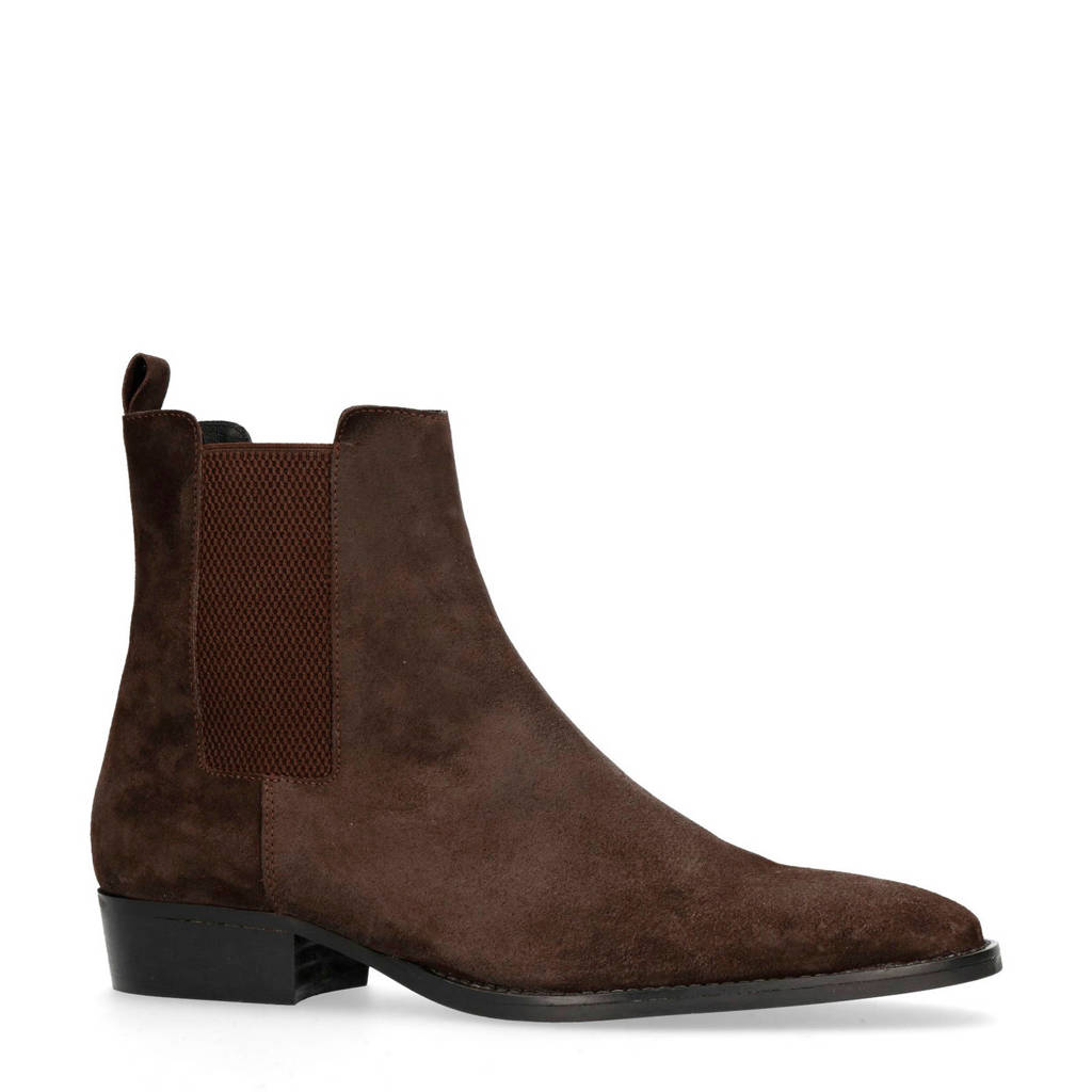 Sacha   suède chelsea boots donkerbruin, Donkerbruin