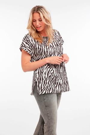 T-shirt met zebraprint multi grijs-zwart