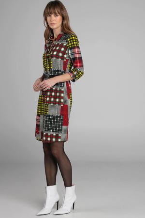 jersey jurk met all over print en ceintuur zwart multi