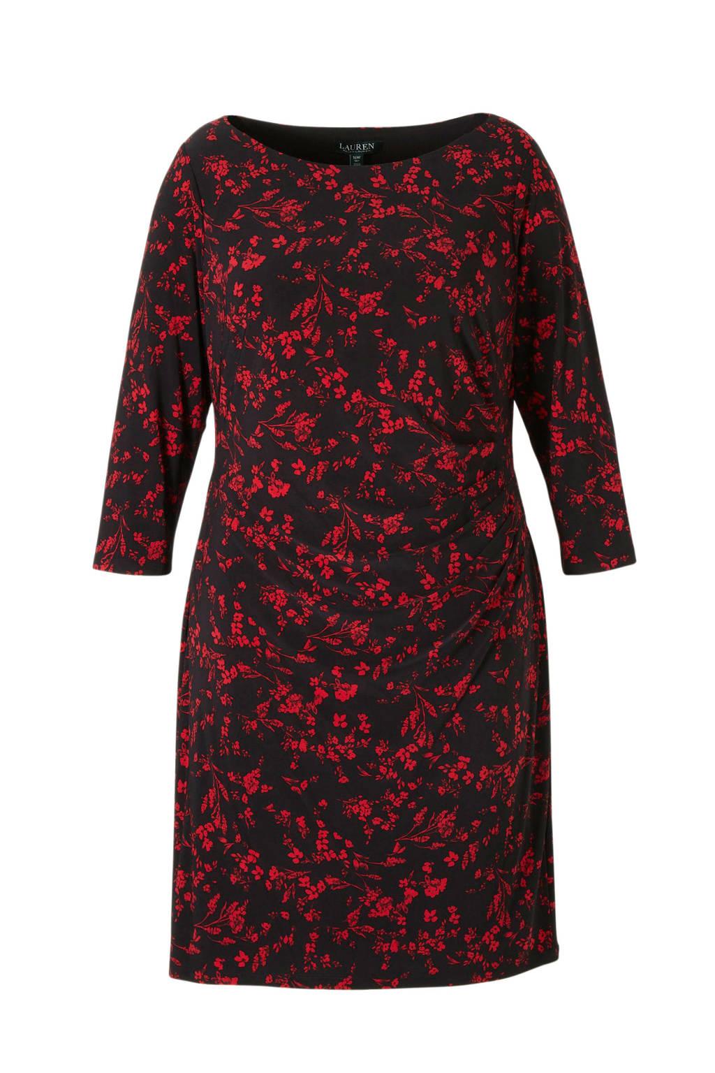Lauren Ralph Lauren gebloemde jersey jurk zwart/rood, Zwart/rood