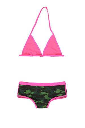 triangel bikini camouflage groen/roze