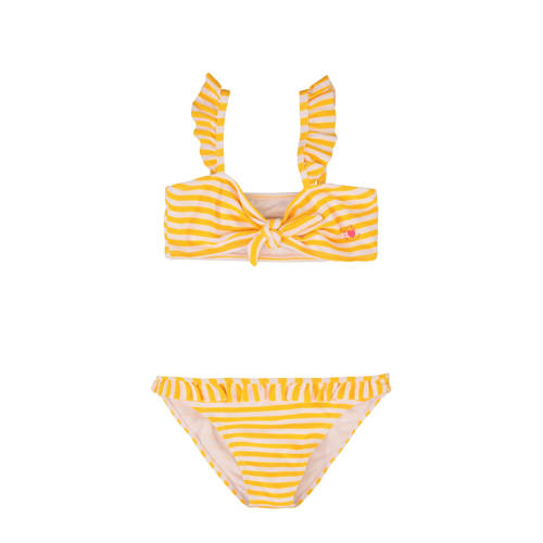 WE Fashion gestreepte bikini met ruches geel/wit