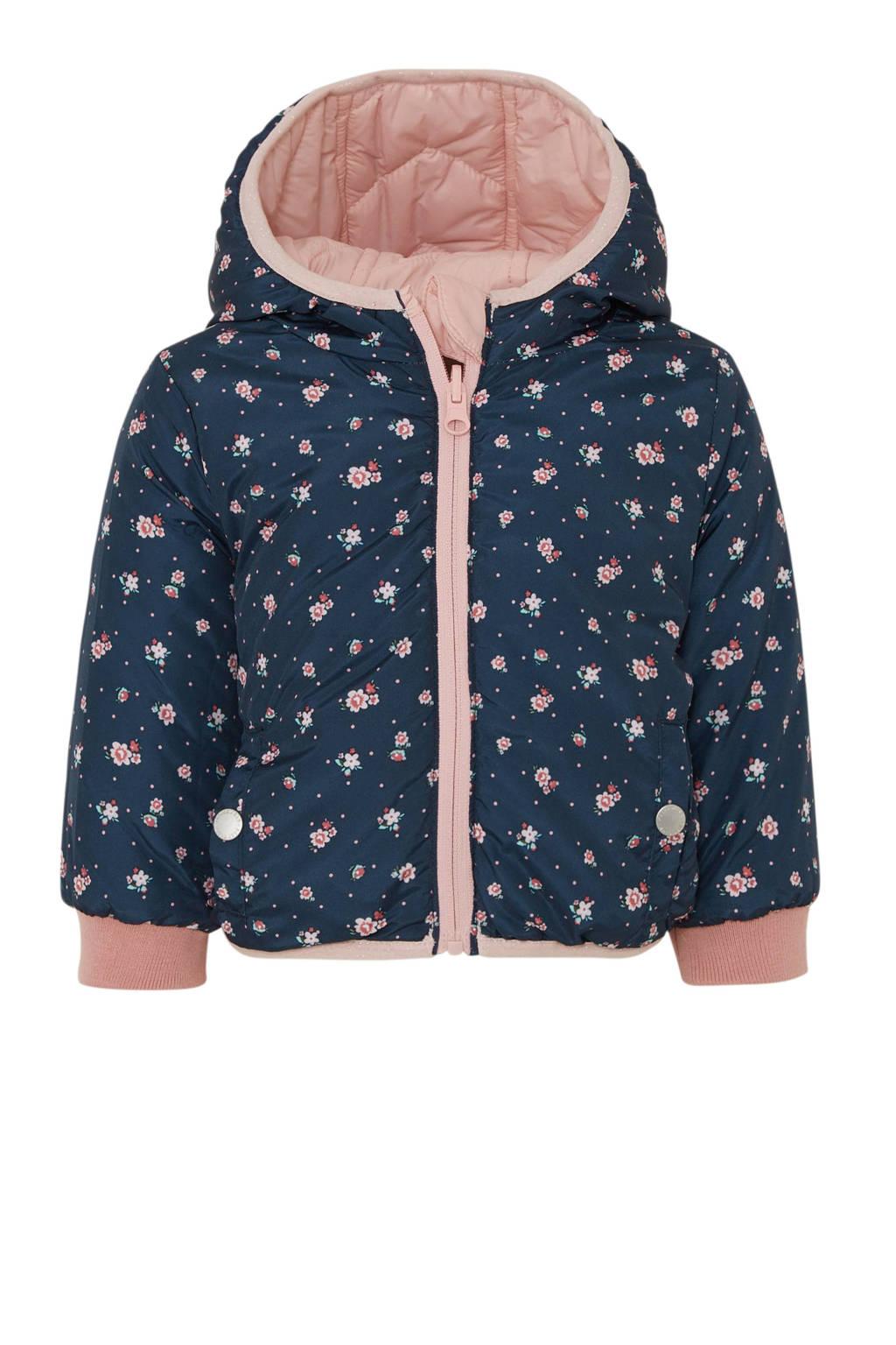 C&A Baby Club baby gebloemde omkeerbare winterjas donkerblauw/lichtroze, Donkerblauw/lichtroze