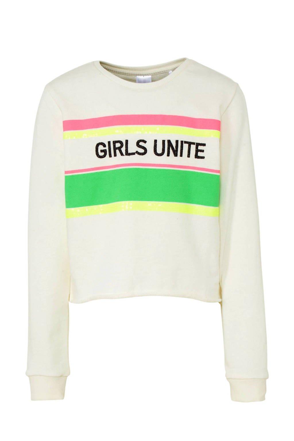 C&A Here & There sweater met tekst en pailletten ecru, Ecru